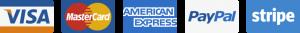 Maksājumu metodes: Visa, MasterCard, American Express, PayPal, Stripe